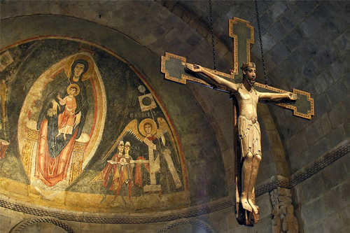Mosaic and Crucifix at the Cloisters Museum in New York