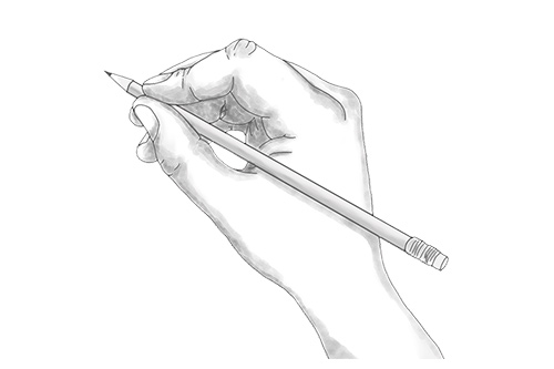 Sketch of hand holding pencil